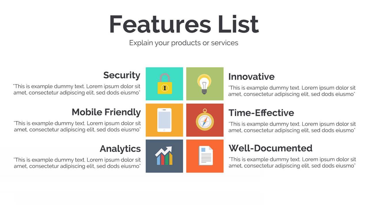 3 Business Plan Website App Features List Presentation