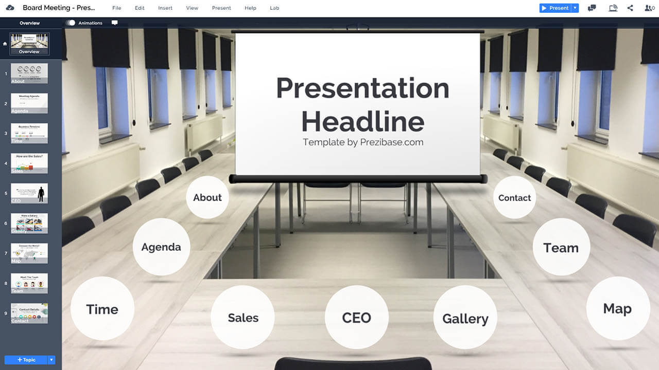 company-board-room-meeting-desk-projector-display-prezi-presentation-template