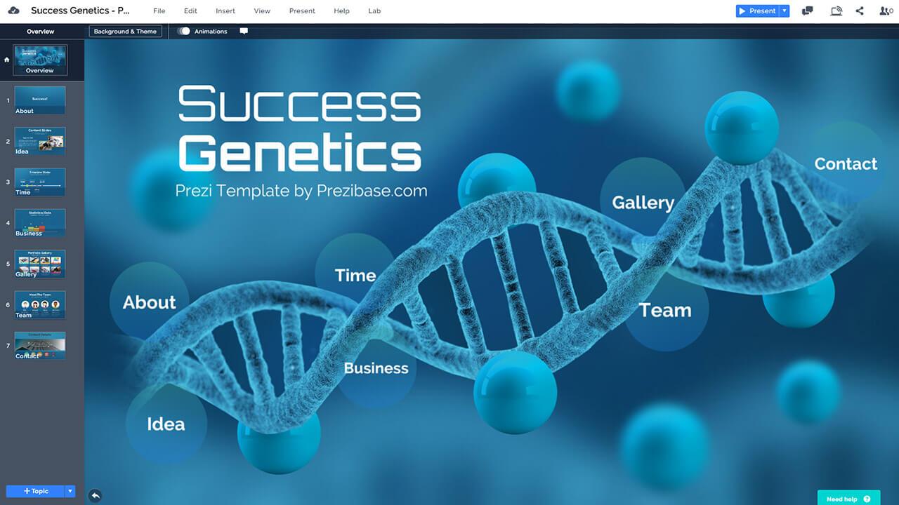 success dna genetics presentation template prezibase