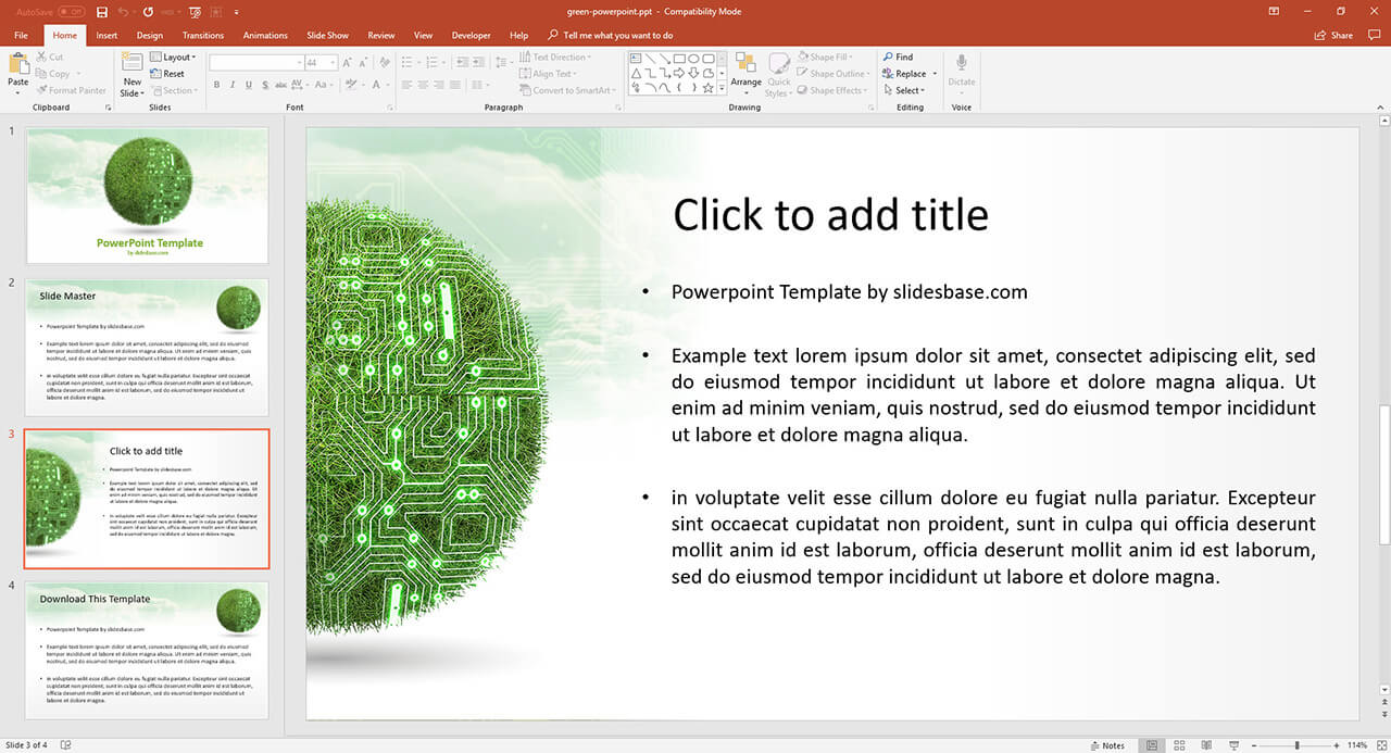 Green Technology Presentation Template Prezibase