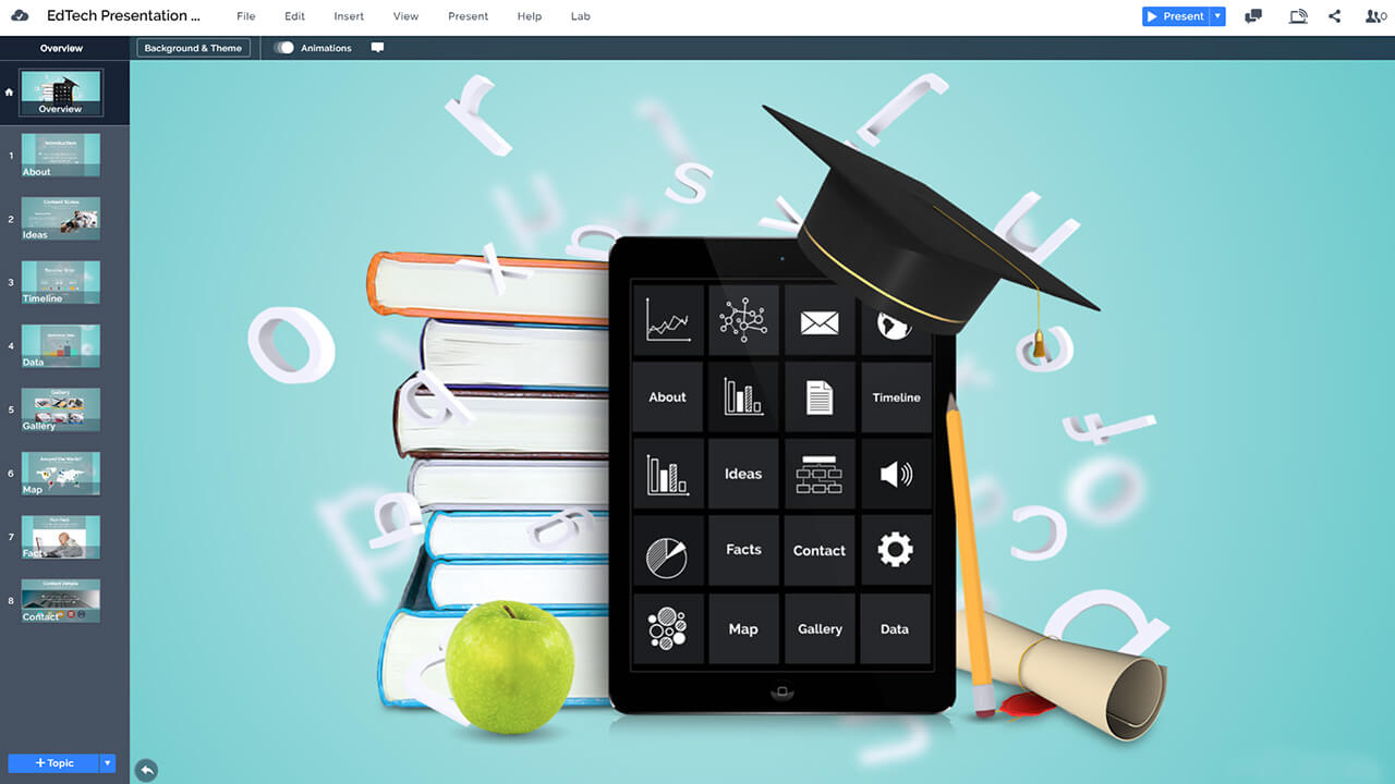 education-edtech-technology-ipad-reading-school-book-graduation-prezi-powerpoint-presentation-template
