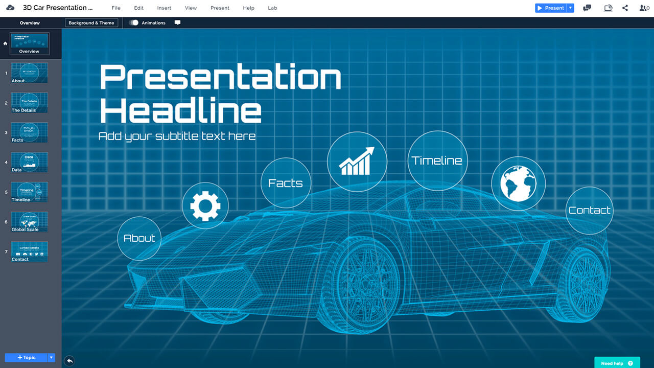 3d Infographic Car Presentation Template Prezibase