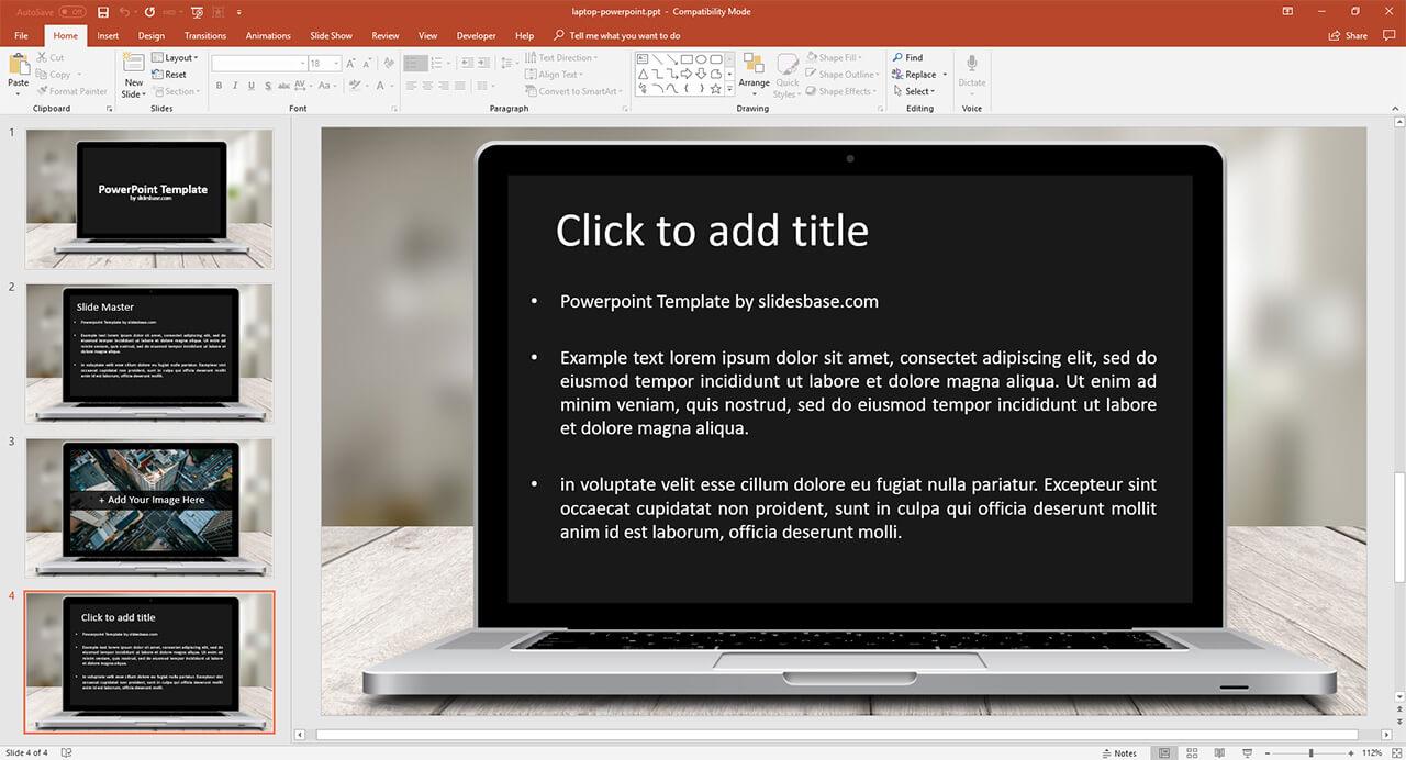 laptop screen presentation template prezibase