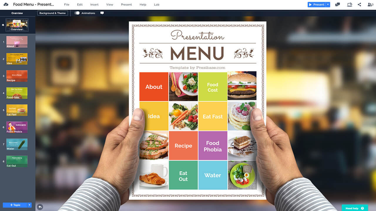 Restaurant Food Menu Bar Presentation Prezi Template