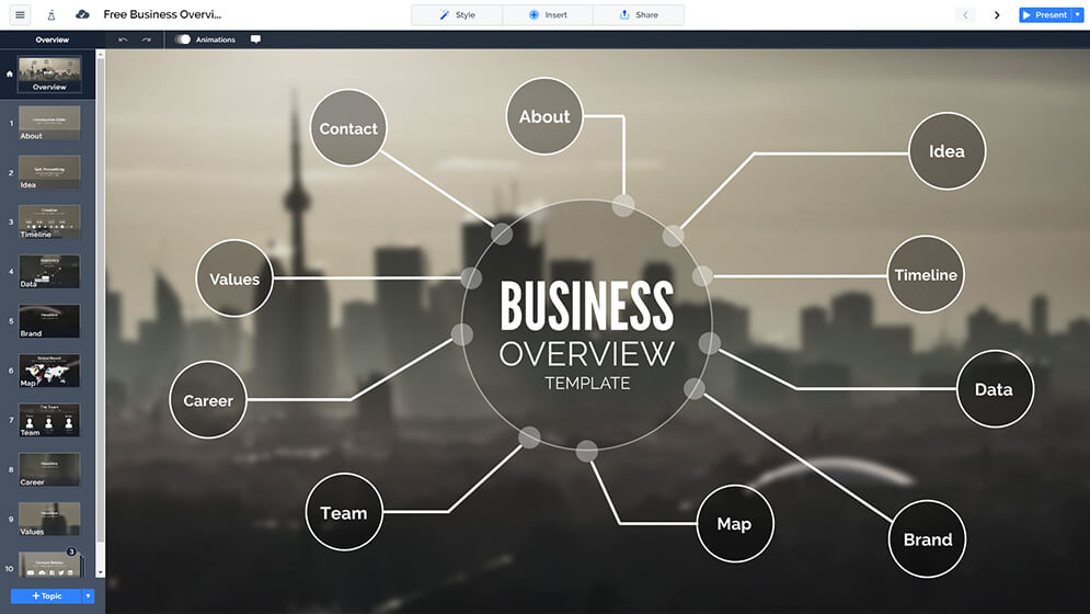 Free Business Overview Presentation Prezi Template Prezibase