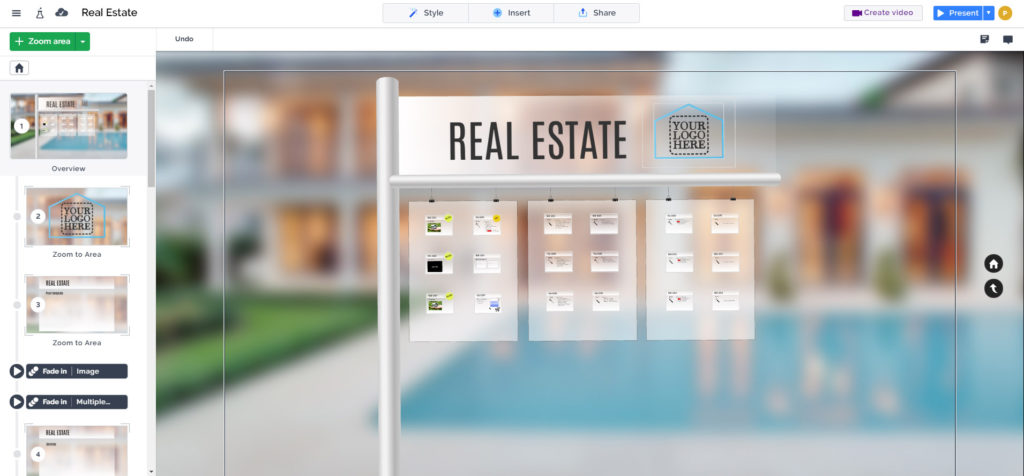 Real estate listings presentation