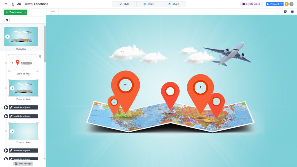 3D folded map with clouds and airplane