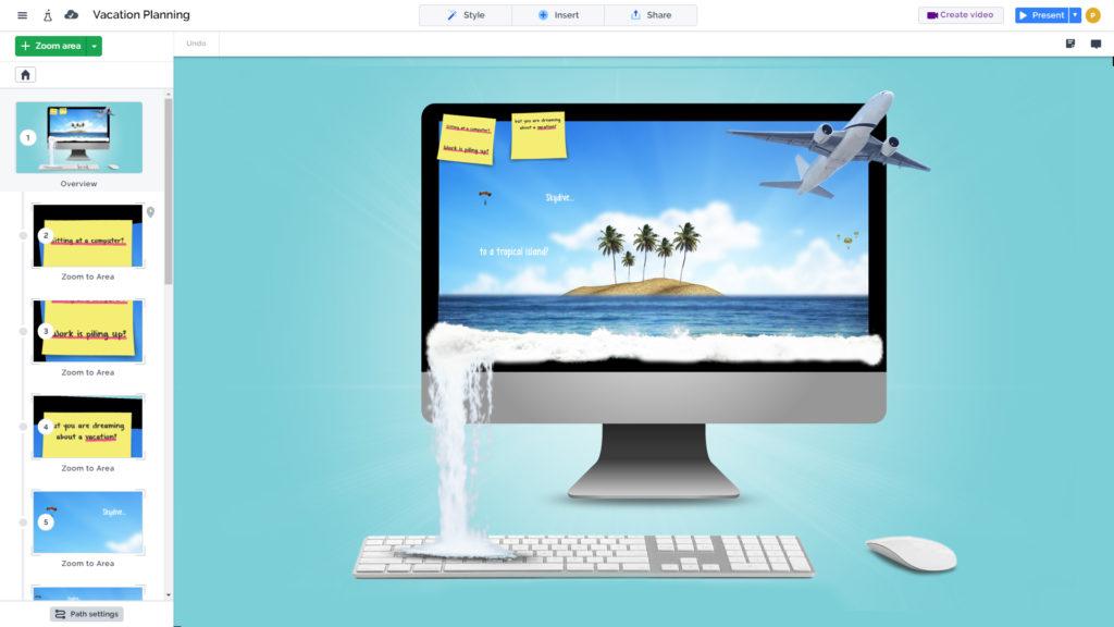 3D beach on a computer screen